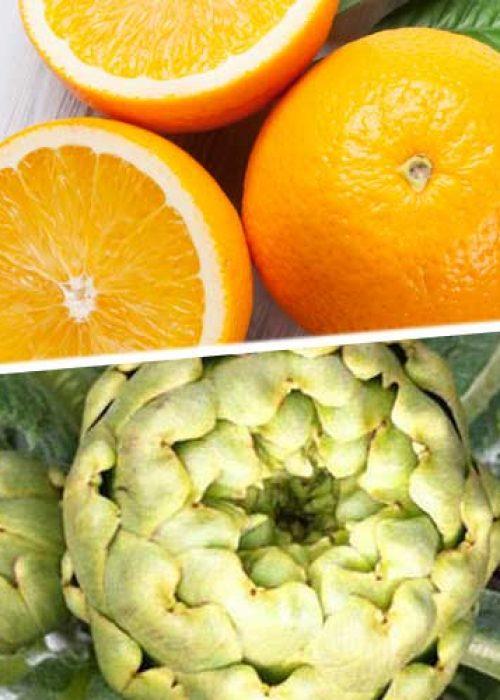 Caja de Naranjas y Alcachofas.