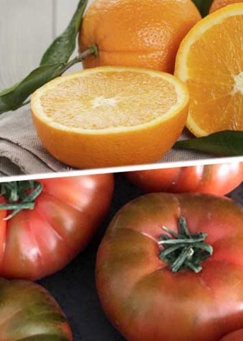 Caja de Naranjas y tomates Raf.