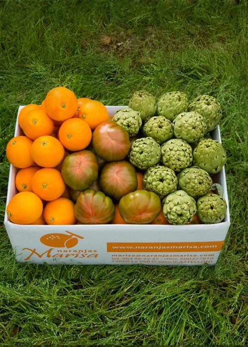 Caja de 15kg. de Naranjas, Alcachofas y Tomates Raf.
