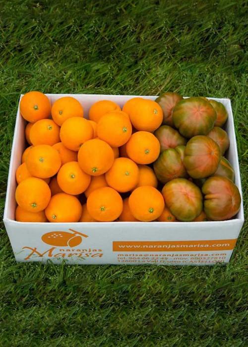 Caja de Naranjas y tomates Raf 15kg.