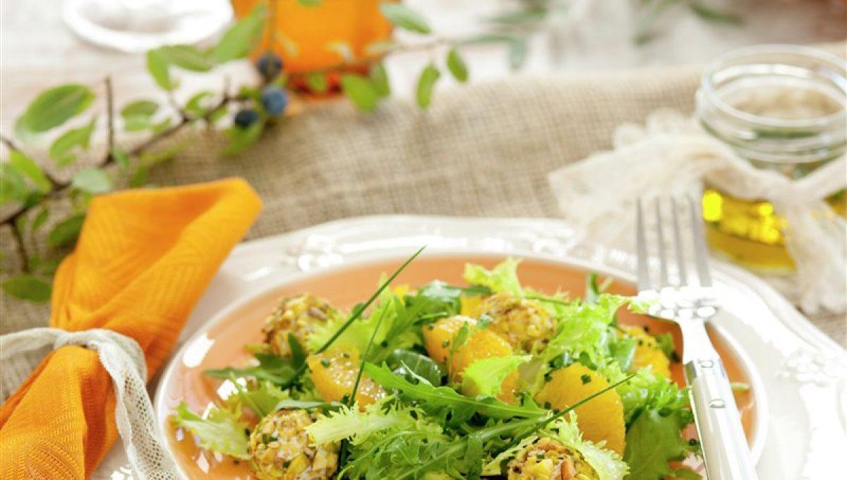 Ensalada con Naranja, Queso de Cabra y Pistachos